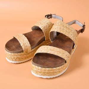 MIA Ava Raffia Vegan Leather Platform Sandal